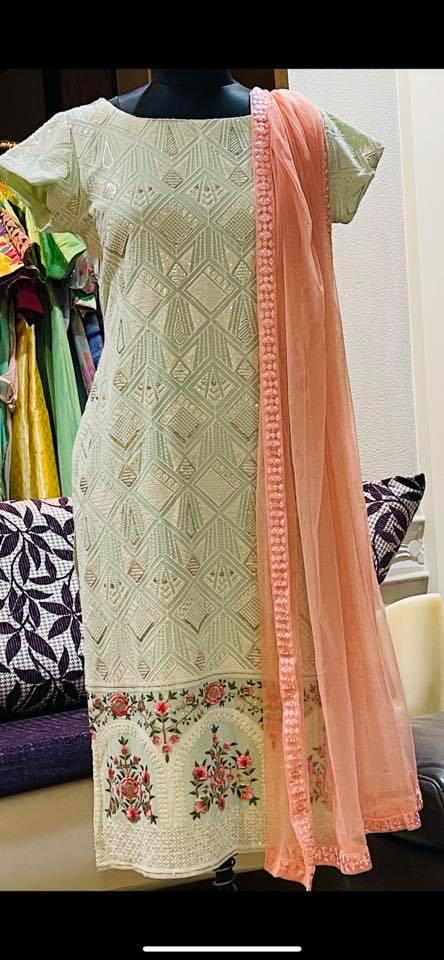 Ready to ship Price : 5500 INR / 75 USD Fabric : Pure georgette chickenkari kurti with net dupatta. To order WhatsApp 7013728388. 2021-01-30