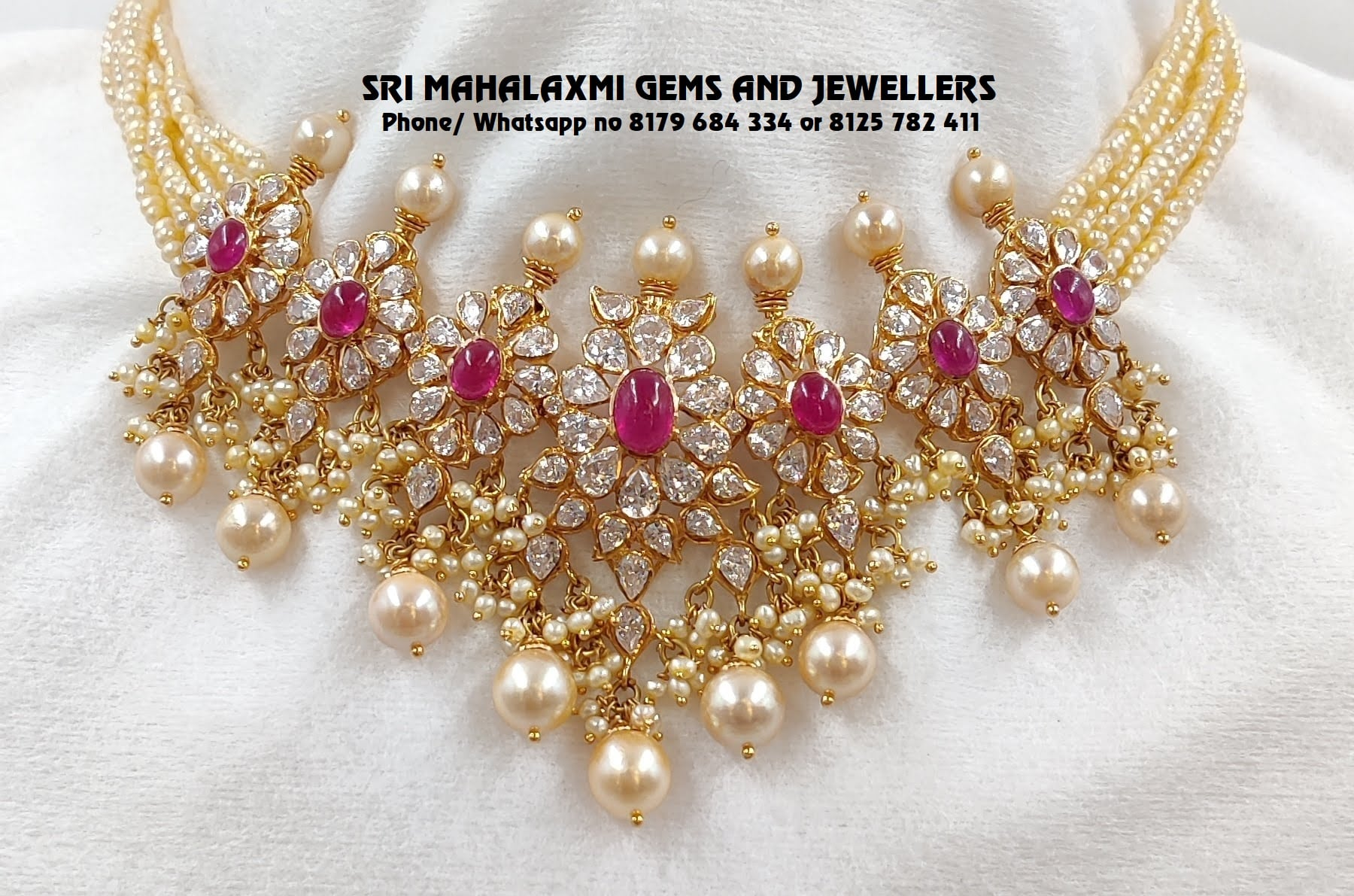 Presenting Swaroski cz choker with fine quality pearls chain. Visit  for exclusive designs most competitive prices guaranteed. VIDEO CALL ON 8125 782 411 OR 8179 684 334  FREE SHIPPING IN MAJOR PARTS OF INDIA 2021-01-30