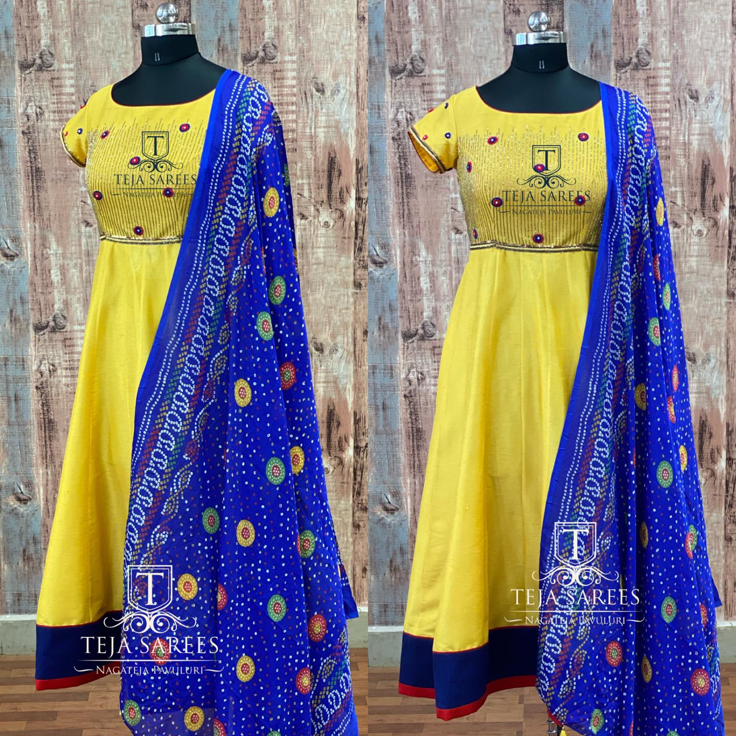 TS-DS- 708. Beautiful lime yellow color floor length dress with blue bandini dupatta. 