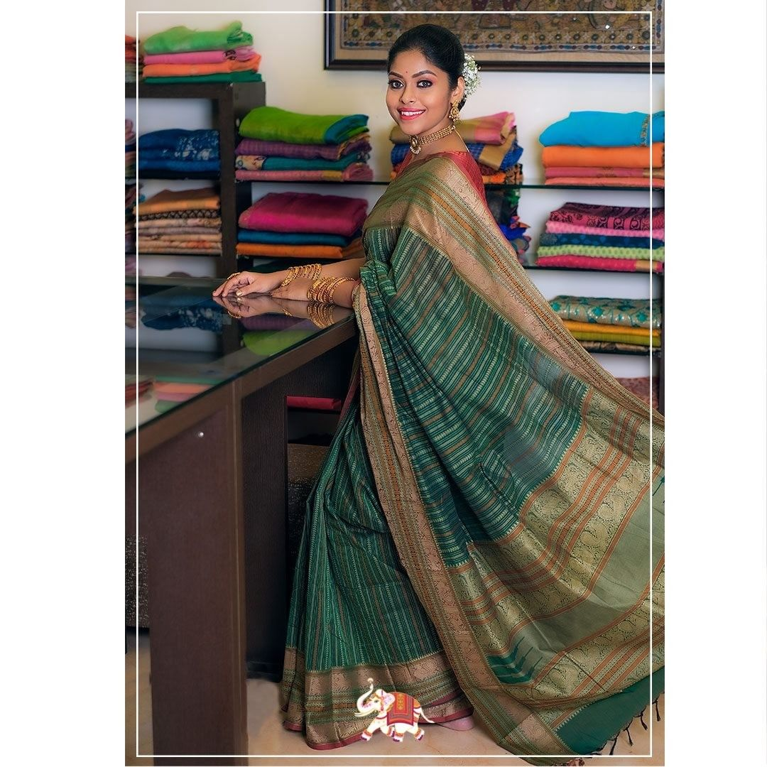 Elegantly defined patterns in rich attractive shades enhance the grace of this Kanchi cotton saree  Price: ₹5200 2021-02-01