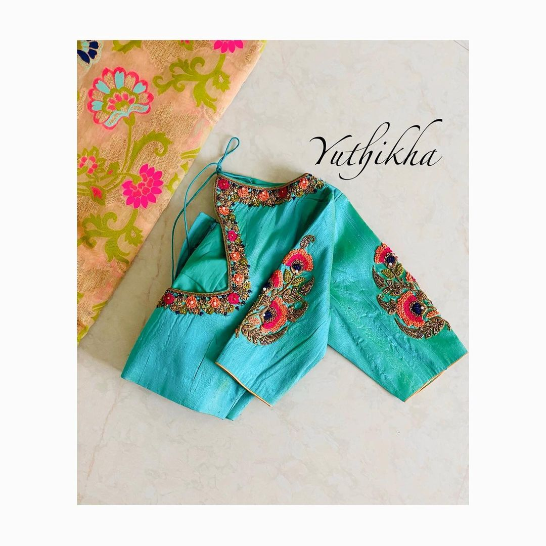 Bespoke Thread Embroidery blouse from the house of yuthikha designer studio !!! For appointments contact 9894231384 2021-02-01