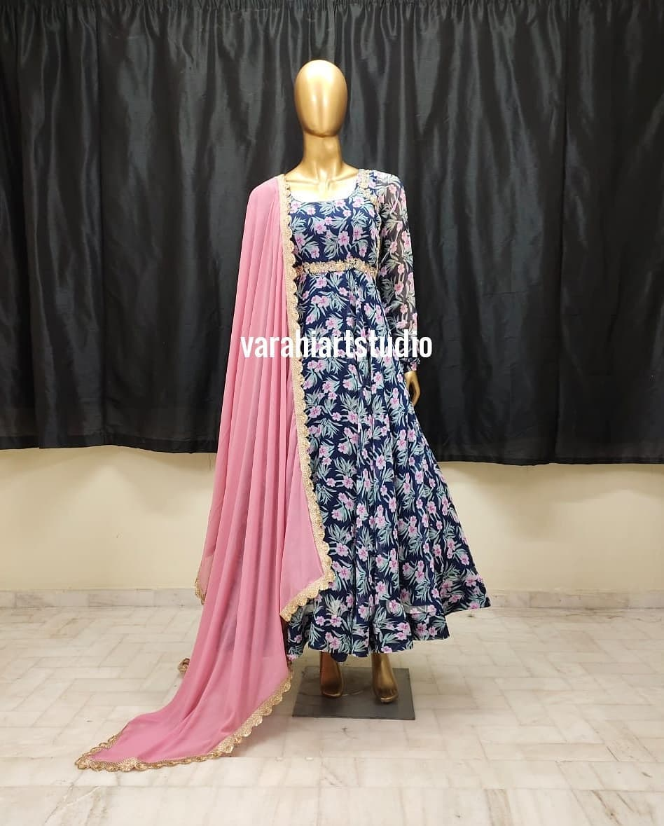 Handi crafted floral Anarkalis Available from Varahi art studio .. They can customise the size as per your Measurements .. .. They have international shipping service too
