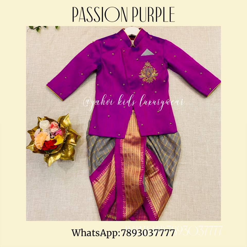 """"""" PASSION PURPLE """" : classic combination with an elegance. Beautiful purple color kids sherwani and gray color paijama. For orders : DM or whatsapp 7893037777( messages only   no calls plz )  2021-02-03"""