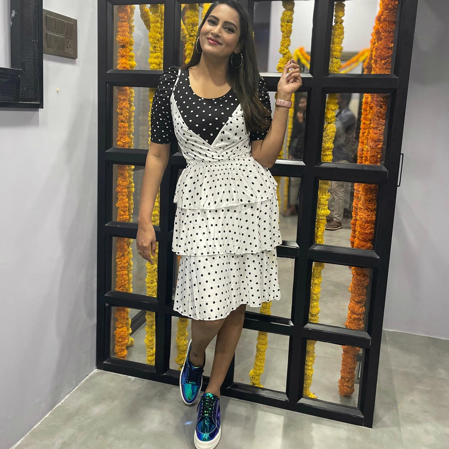 Beautiful actress and anchor Himaja in balck and white color combination polka dots dress. 2021-02-03