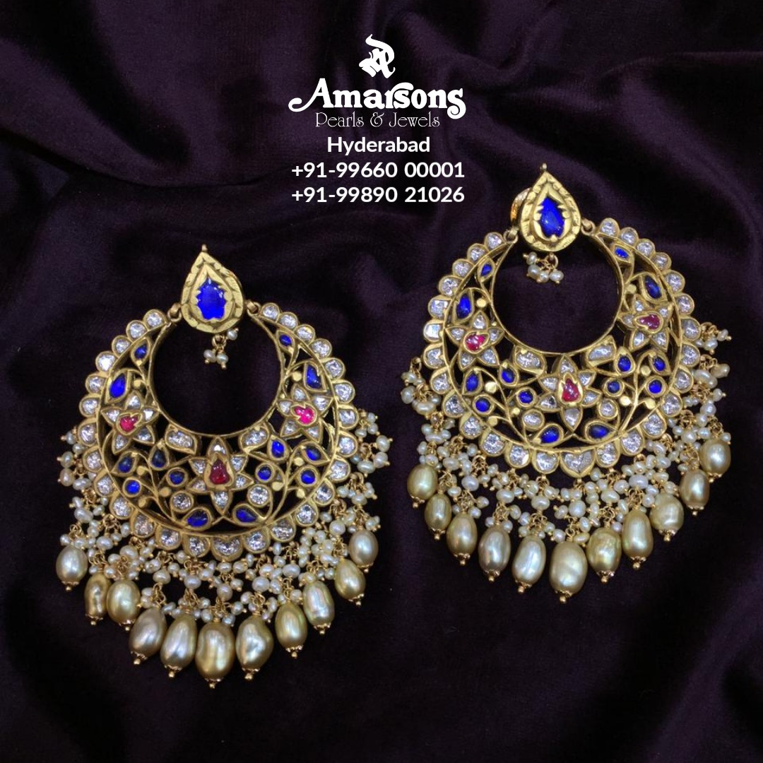 Gold Kunadan Polki Chandbali with Keshi Pearls from Amarsons jewellery. 2021-02-05