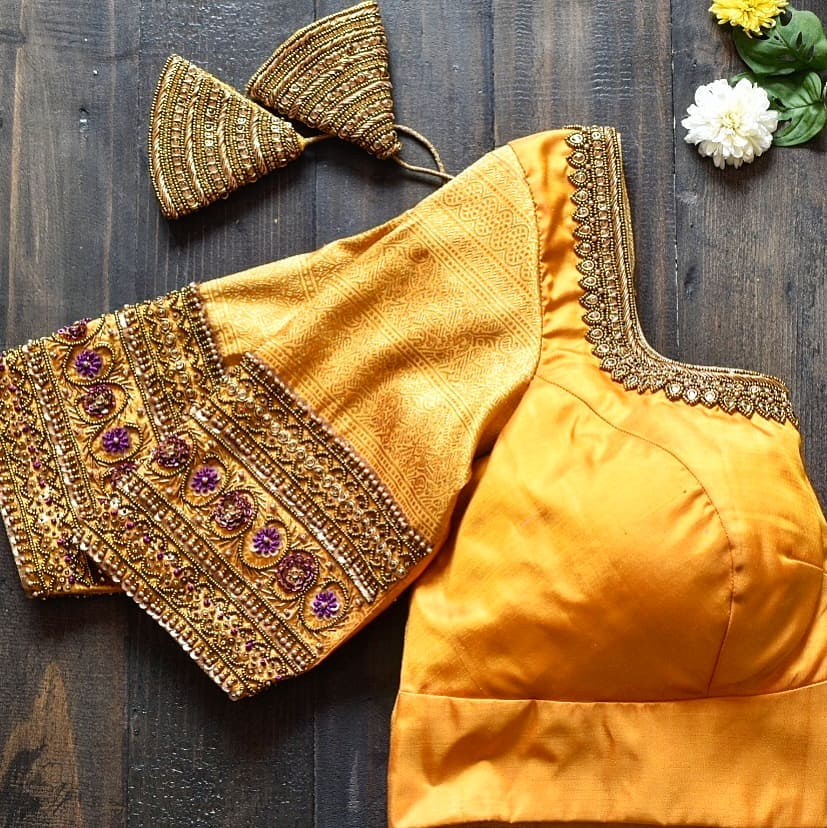 Intricate zari and bead work meticulously embroidered in pure silk. 2021-02-05