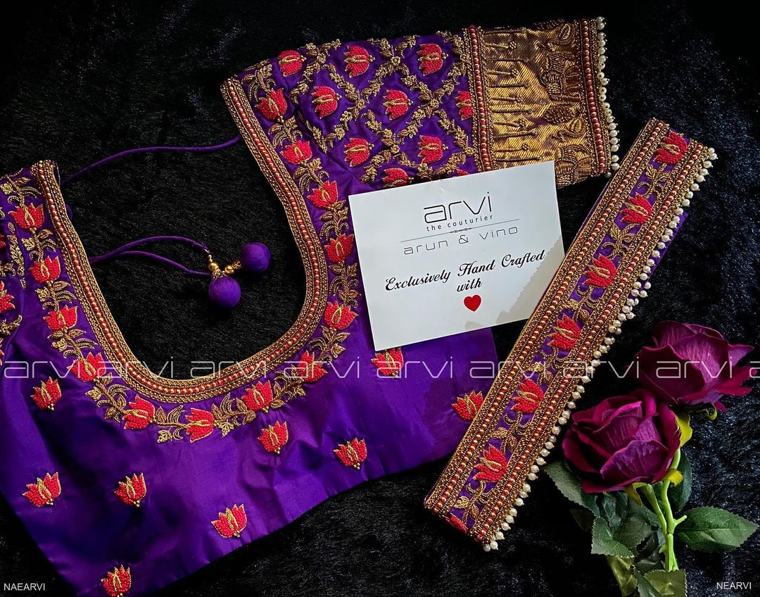 Stunning purple color designer blouse with lotus flower design hand embroidery thread maggam work.  2021-02-07
