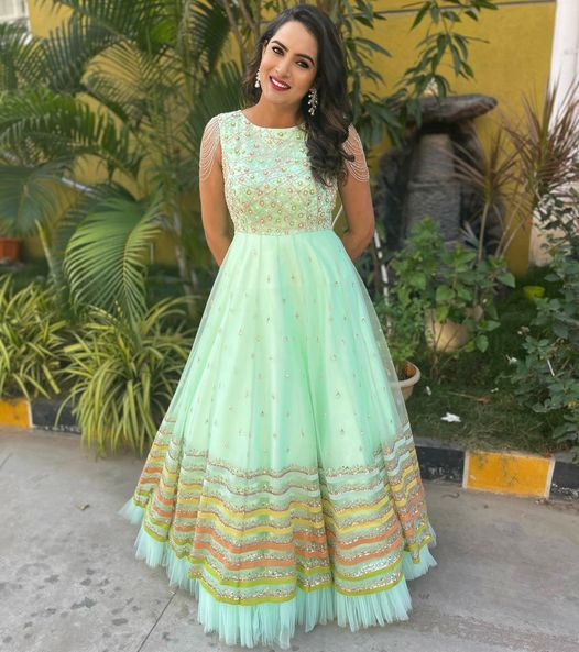 Beautiful actress Himaja in sea green color long frock. 2021-02-08