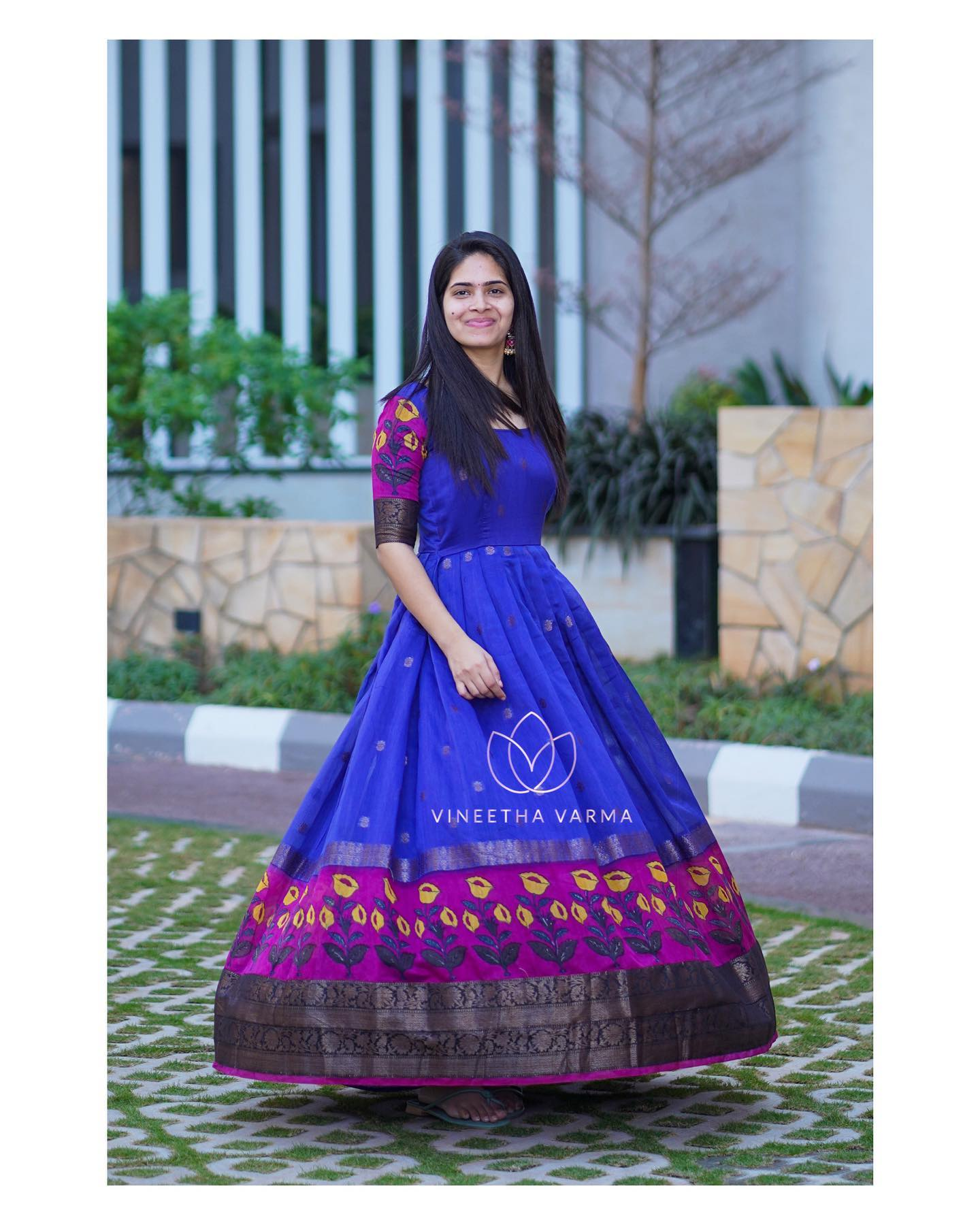 Blue floral maxi. Stunning blue color pattu long frock . 2021-02-11