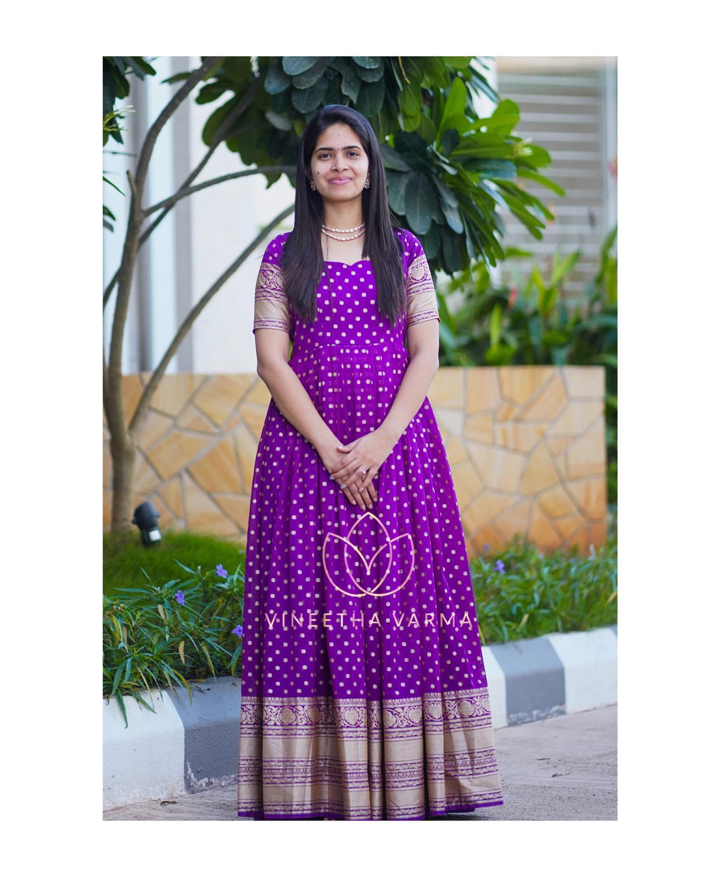 Purple maxi. Beautiful purple pattu long frock from Vinitha Varma. 2021-02-12