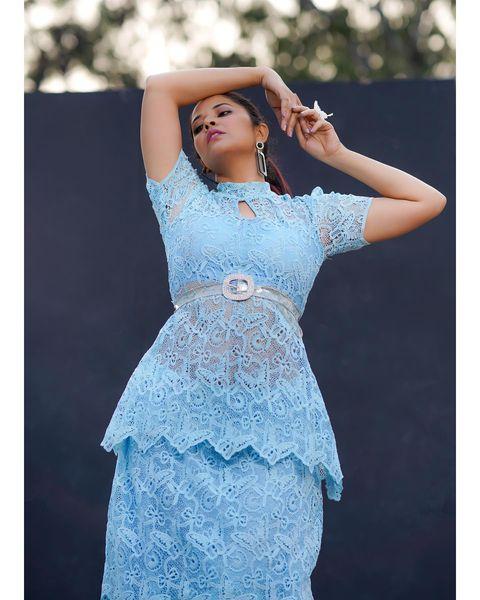Beautiful Anasuya Bardwaj on ice blue color lace dress for jabardasth.  2021-02-12