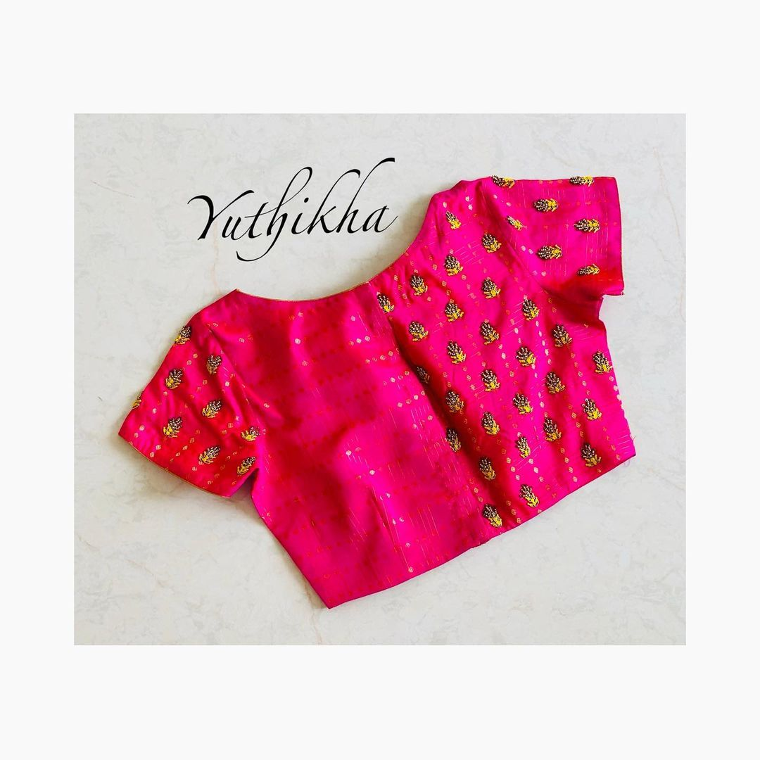 Simple and stylish embroidery blouse from the house of yuthikha designer studio !! For appointments contact 9894231384 2021-02-13