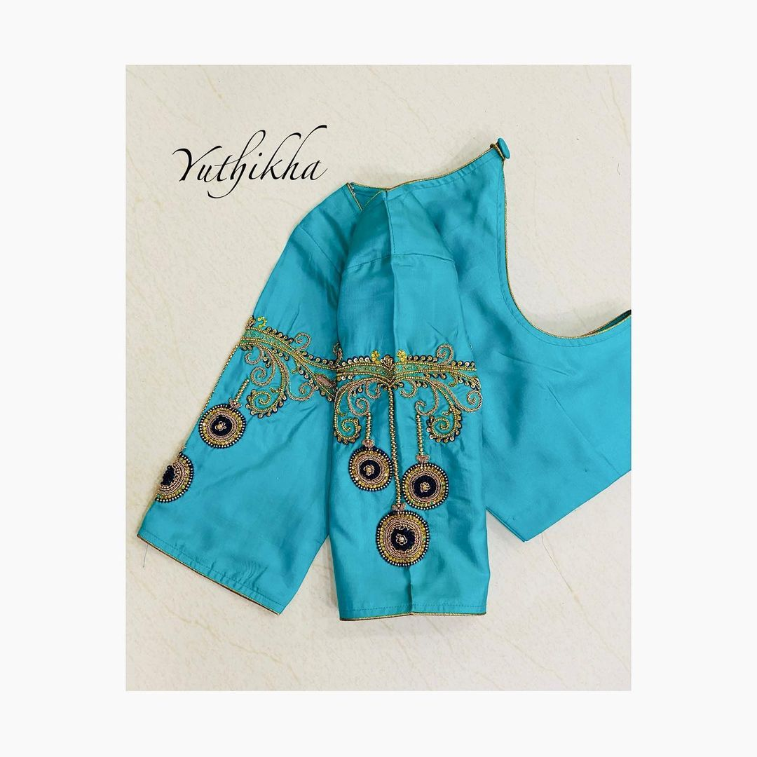 Simple and elegant sky blue color sleeve embroidery !! For appointments contact 9894231384 . - Not for sale !! 2021-02-13