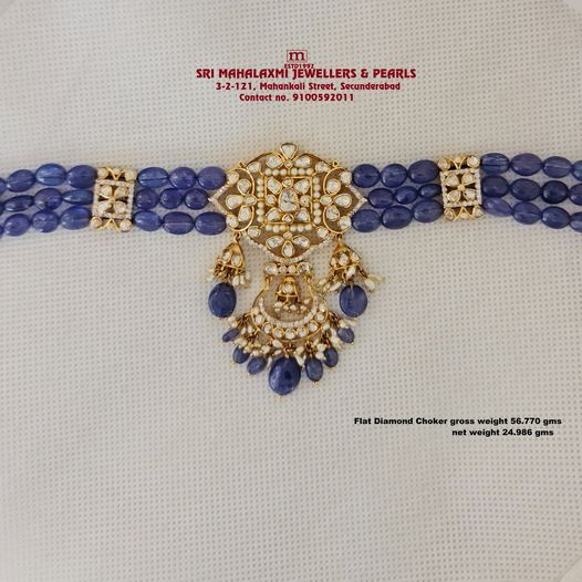 New Collection Added Flat Diamond Pachi Choker come Dandapatti studded with Flat Diamond Pachi and 1 cut Diamond  Tagnal Beads made 22KT BIS HALLMARK Gold visit our SHOWROOM For Full Range of Collection WHOLESALES PRICES Please call  on Whatsaap VIDEO CALL No. 9100592011. 2021-02-13