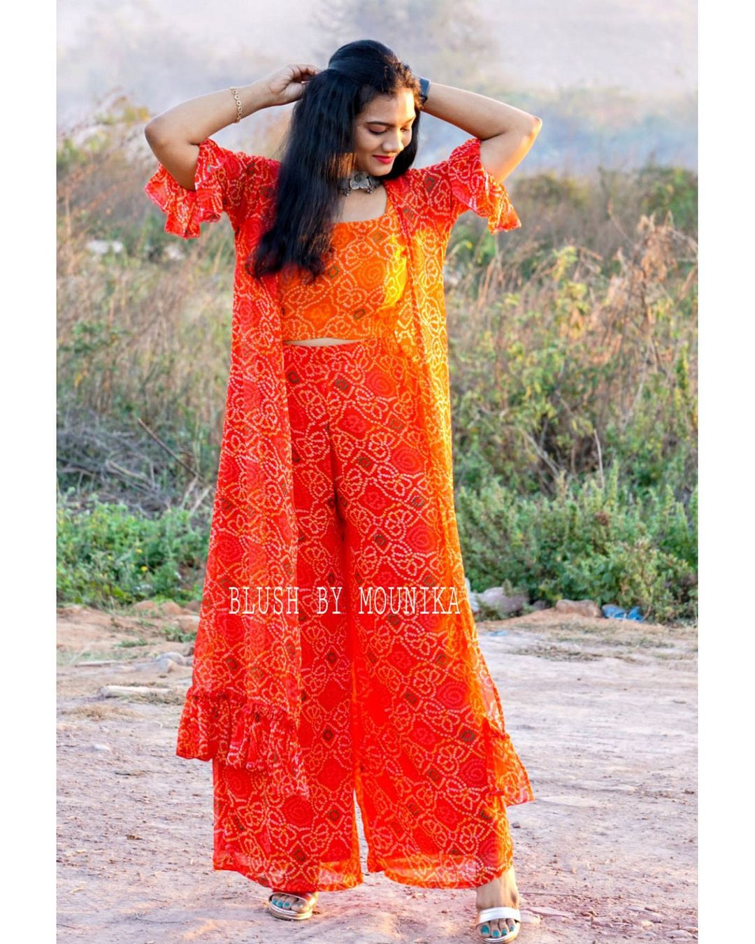 Stunning orange color bandhini palazo pants and crop top with long cape. 2021-02-14