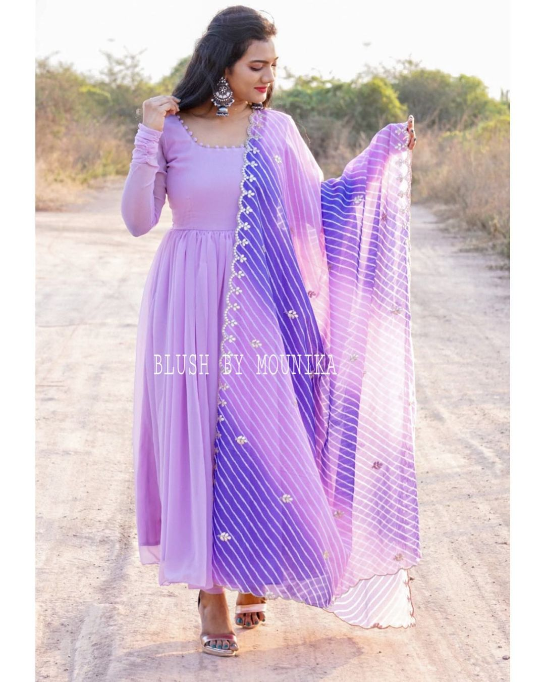 Stunning lavender color floor length dress with leheriya dupatta. 2021-02-15