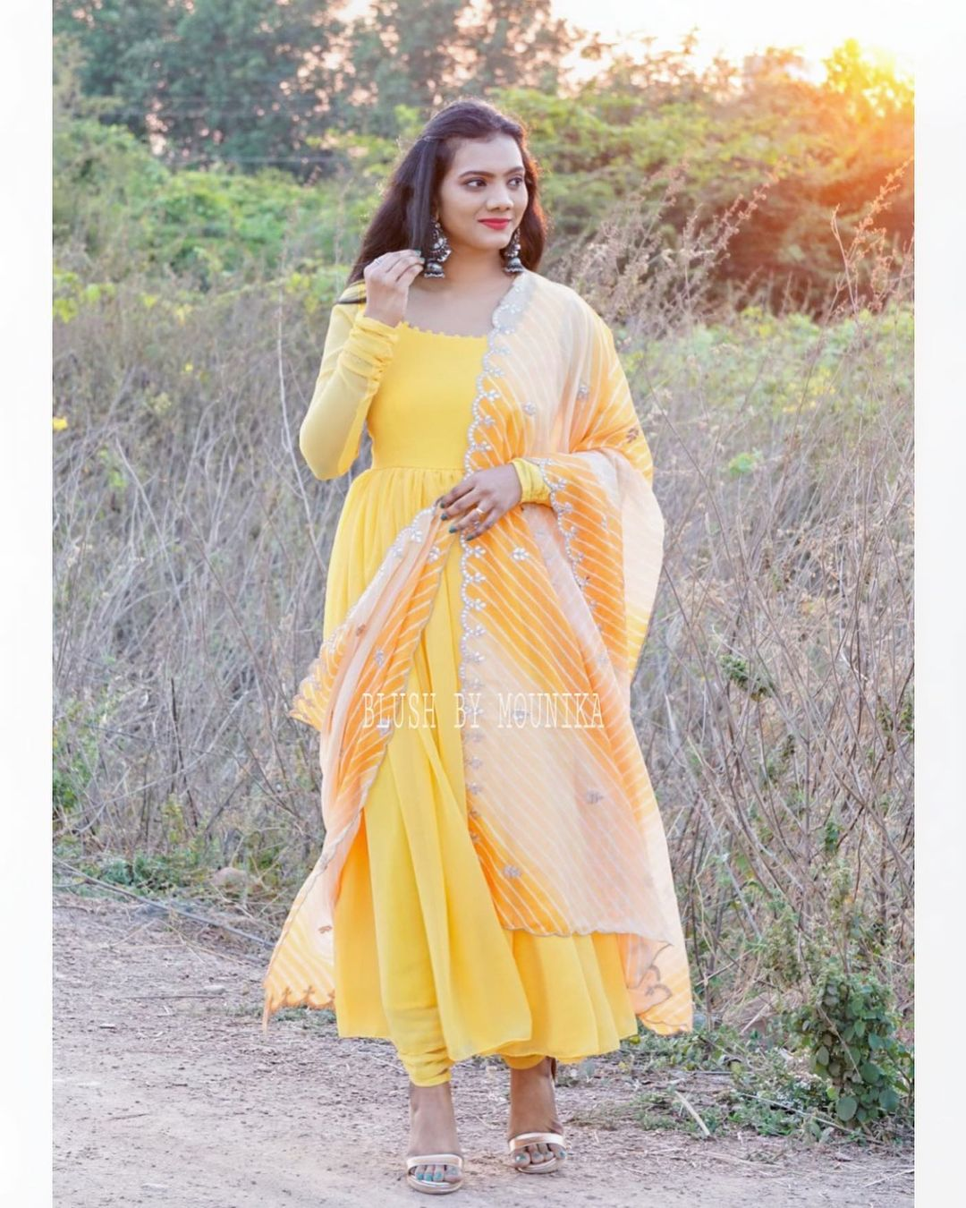 Stunning yellow color floor length dress with leheriya dupatta. 2021-02-15