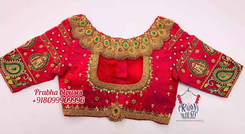 Stunning high neck bridal blouse with jewel theme hand embroidery bead maggam work.  2021-02-16