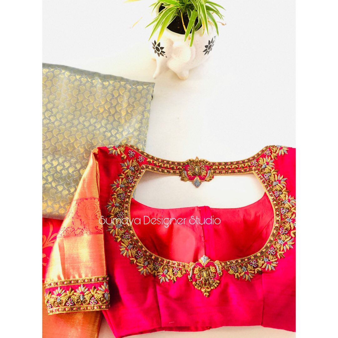 Contrast  .  Classic appealing hand embroidery blouse looks amazing on kanjivarm sarees!  . Call us for more details
