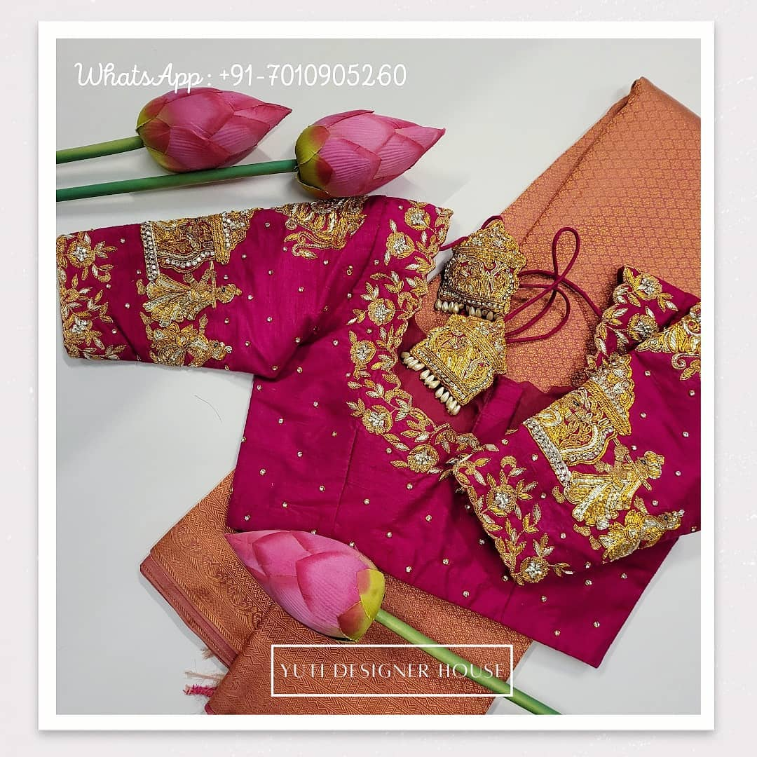 Gorgeous wine color designer blouse with doli design hand embroidery maggam work on sleeves . 2021-02-17