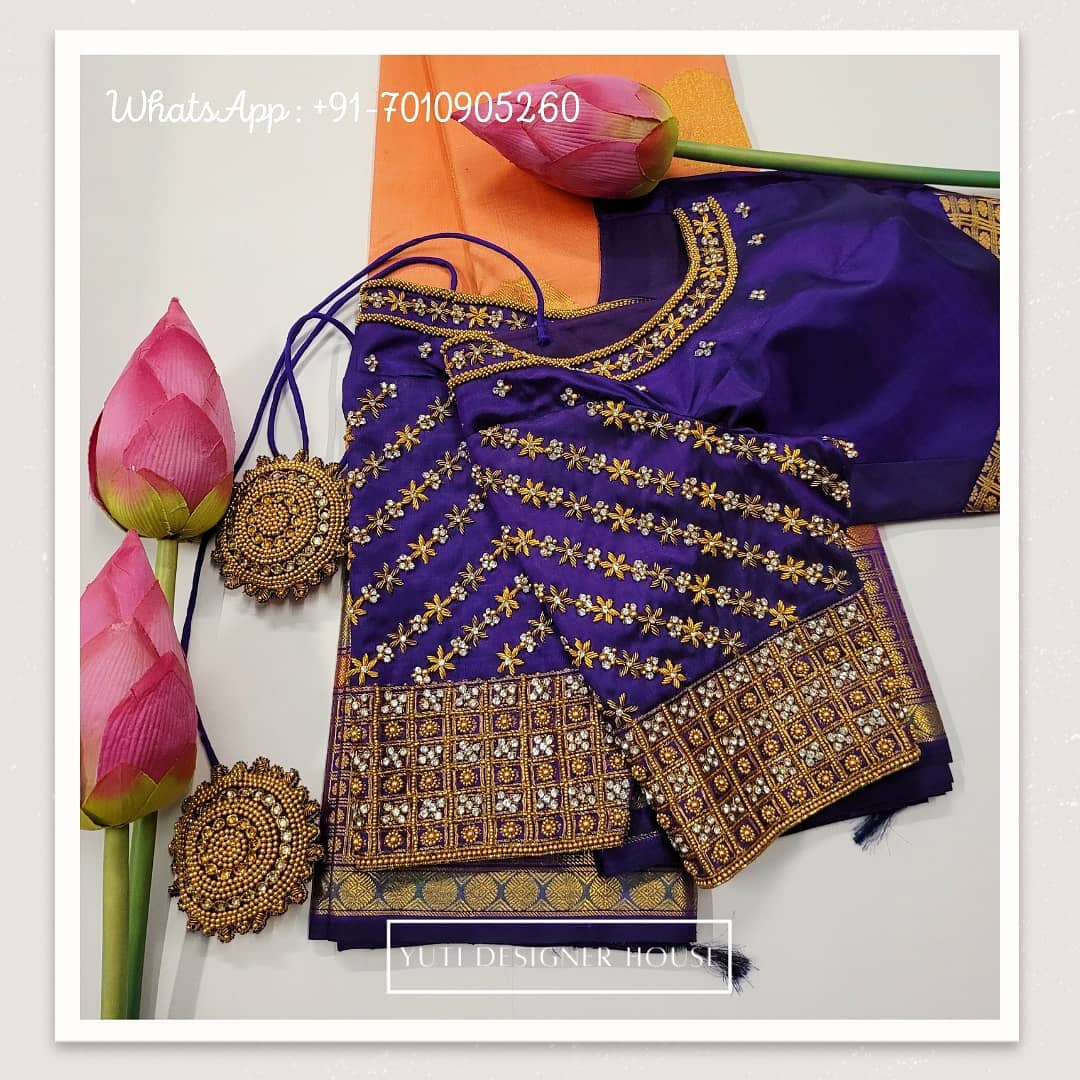 Gorgeous deep blue color bridal blouse with stone and bead aari work on sleeves and neckline.  2021-02-17