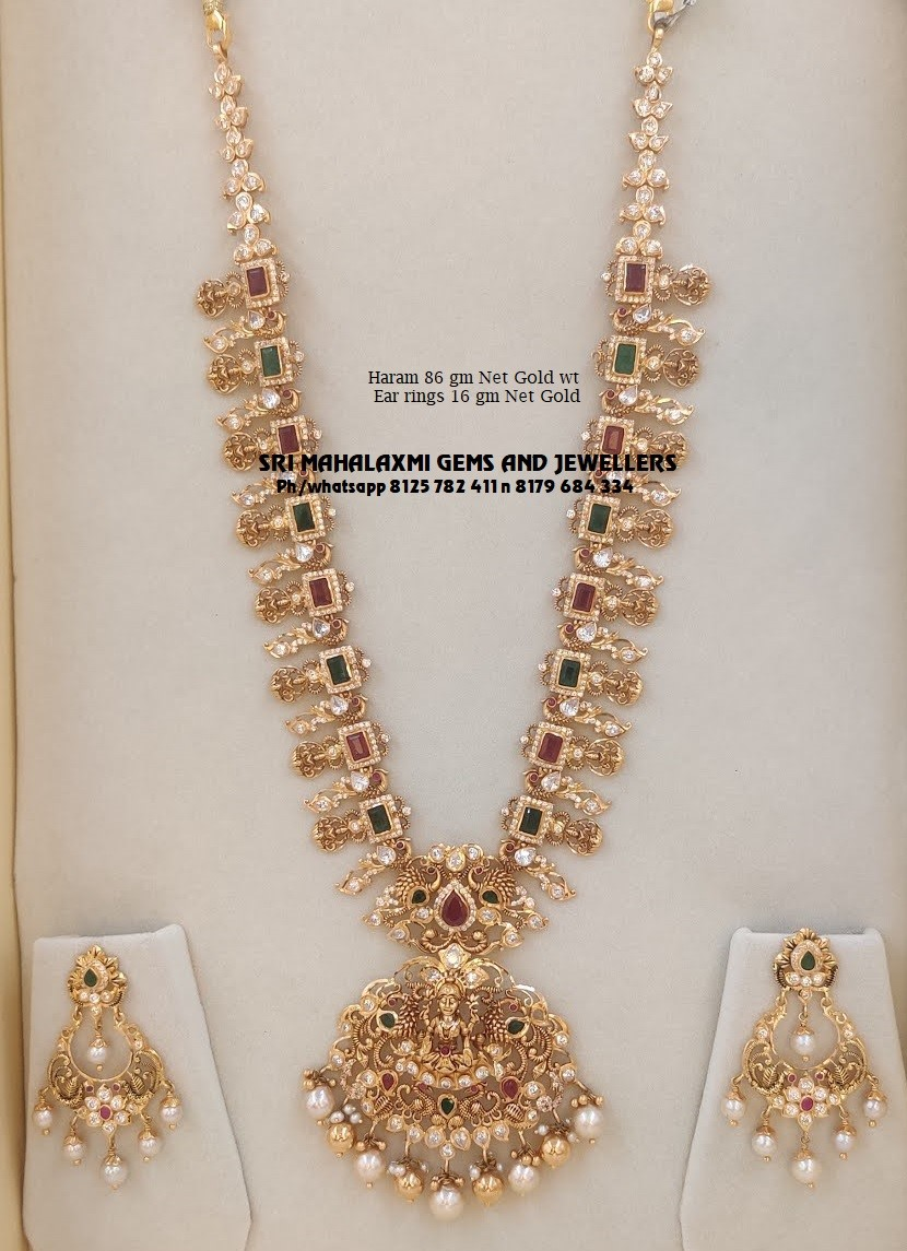 Long necklaces new designs added. Presenting 86 gm haram. Video call on 8179 684 334 or 8125 782 411 for best esigns. 2021-02-17