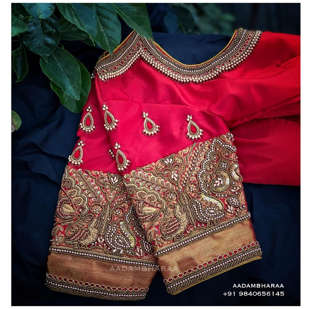 Enhance the richness of your silk zari by getting hand embroidery and zardosi work done on your blouses at Aadambharaa today! 2021-02-17