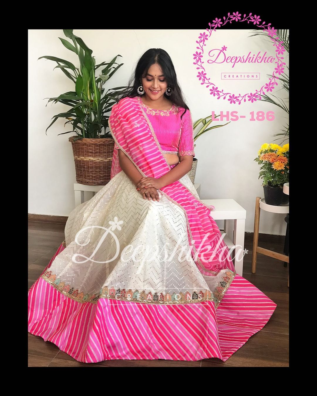 LHS - 186. Beautiful off white and pink color combination halfsaree with leheariya dupatta. 