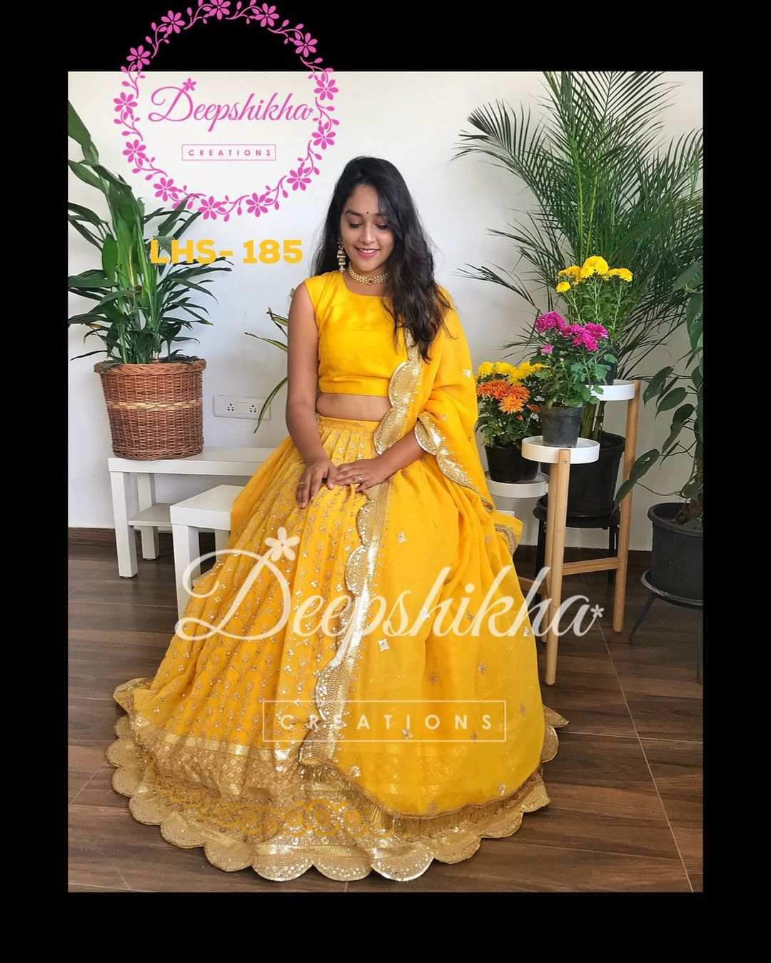 LHS - 185. Stunning yellow color lehenga and crop top with net dupatta. For queries kindly whatsapp: +91 9059683293. 2021-02-17