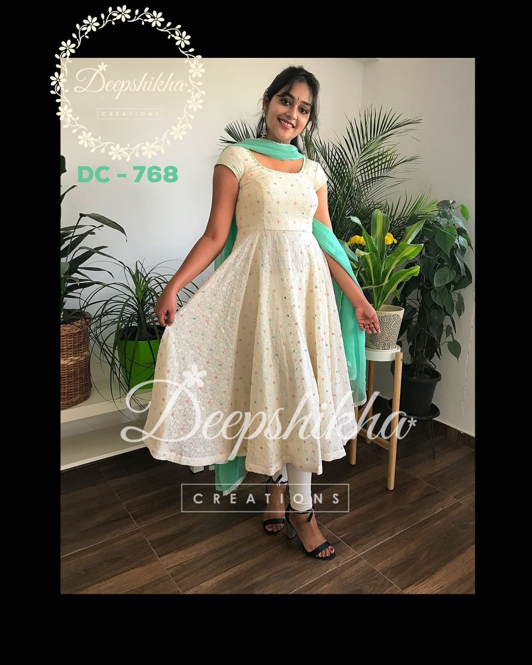 DC - 768. Gorgeous off white color knee length dress with olive green color dupatta. For queries kindly whatsapp: +91 9059683293. 2021-02-17