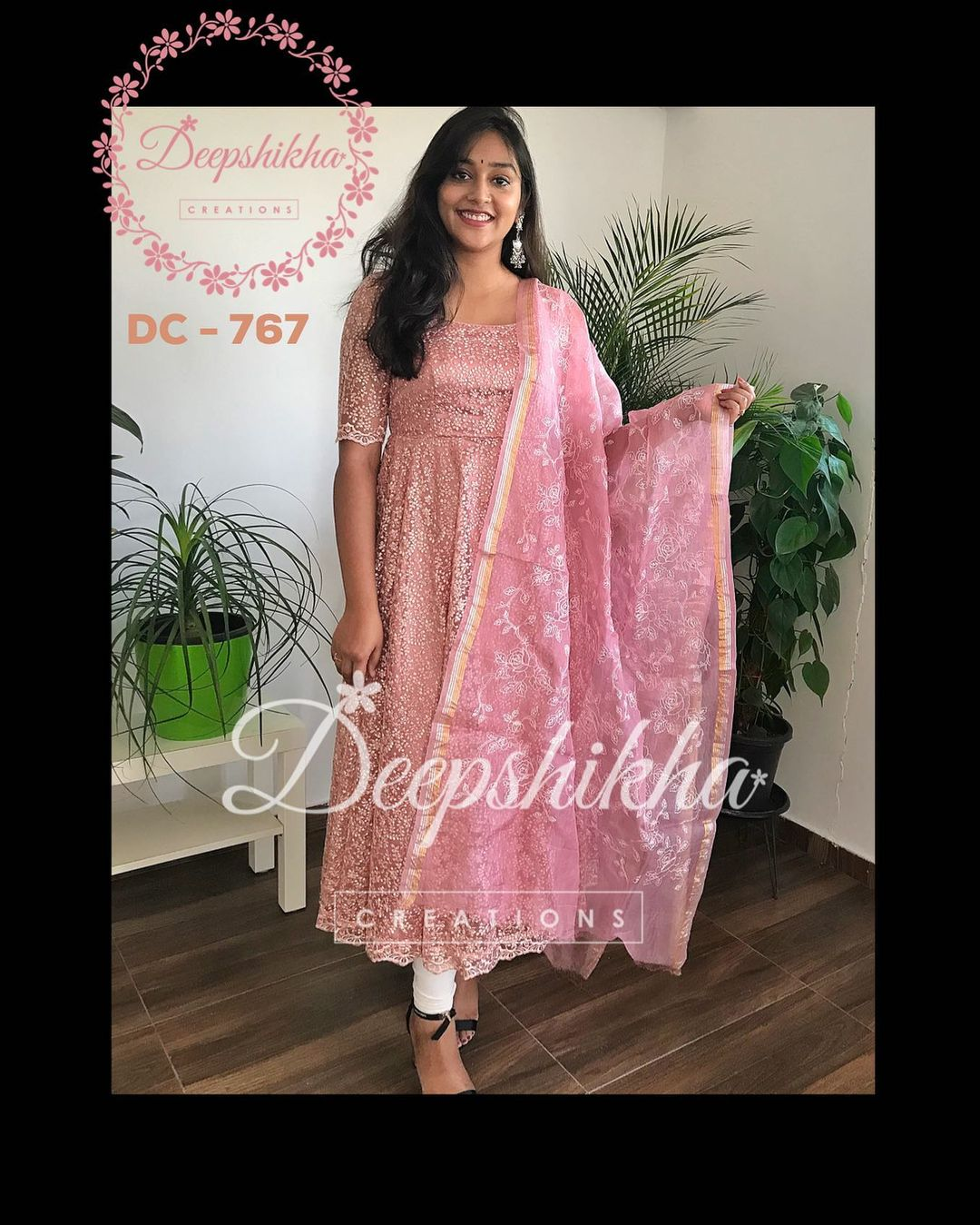 DC - 767. Beautiful pink shade ankle length dress. For queries kindly whatsapp: +91 9059683293. 2021-02-17