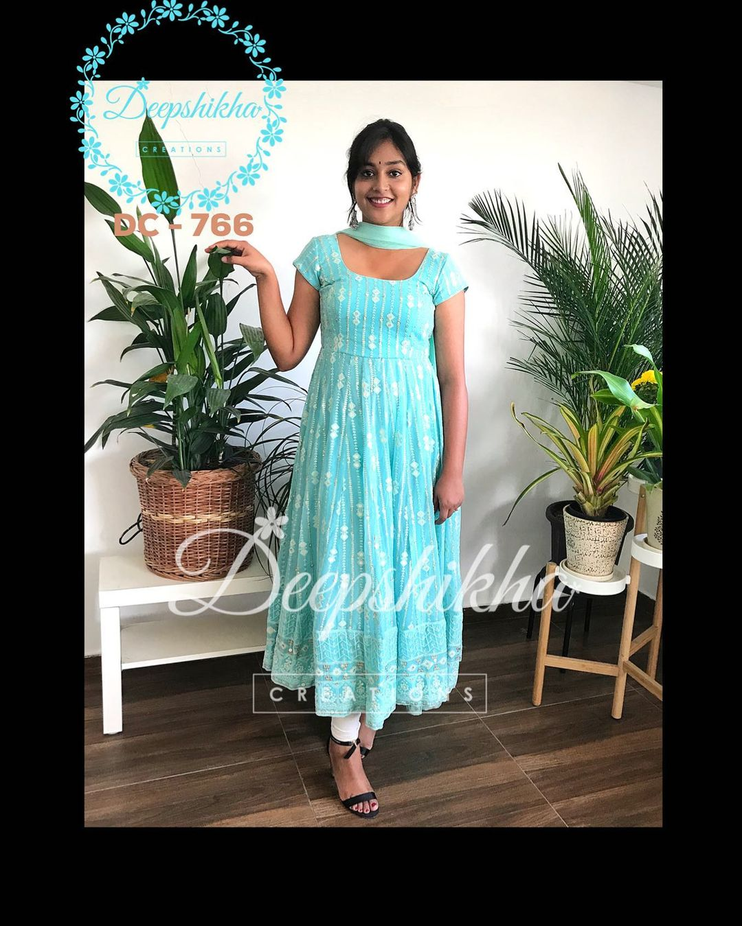 DC - 766. Lovely sea  green color ankle length dress.