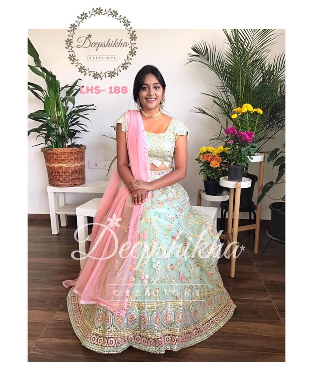 Beautiful olive green color net lehenga and blouse with blush pink color net duaptta. LHS 188.  2021-02-18