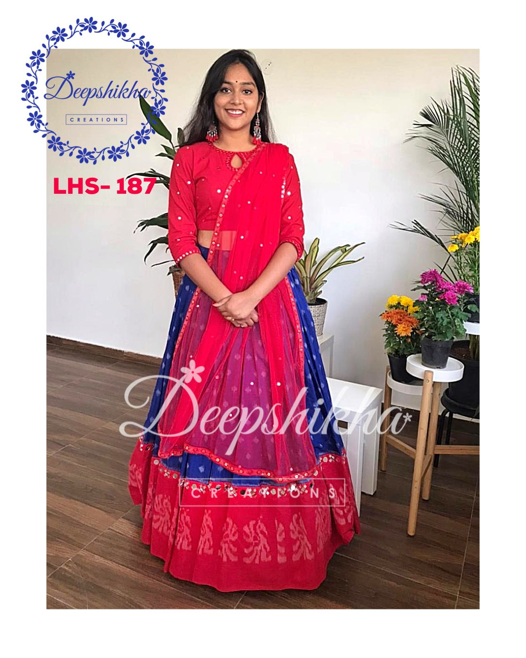Gorgeous blue and red color combination lehenga and blouse with net dupatta. Lehenga and blouse with hand embroidery mirror work.  2021-02-18