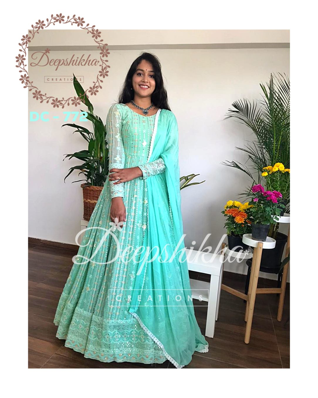 Gorgeous sea green color floor length anarkali dress with net dupatta. Dress with full sleeves. 2021-02-18