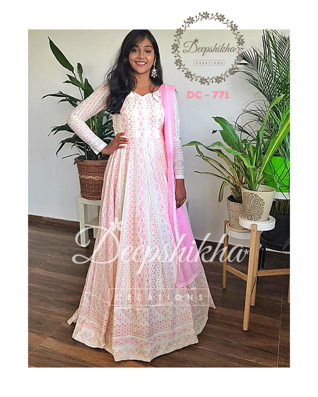 Gorgeous blush pink color floor length anarkali dress with net dupatta. Dress with full sleeves. 2021-02-18
