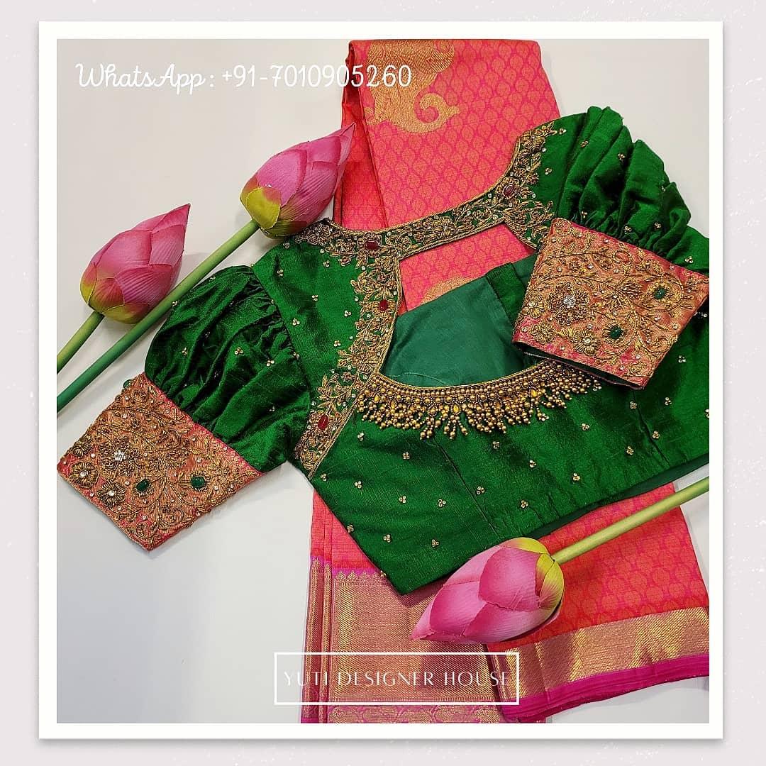 Stunning leaf green color designer blouse with floret lata design hand embroidery aari work.  2021-02-18