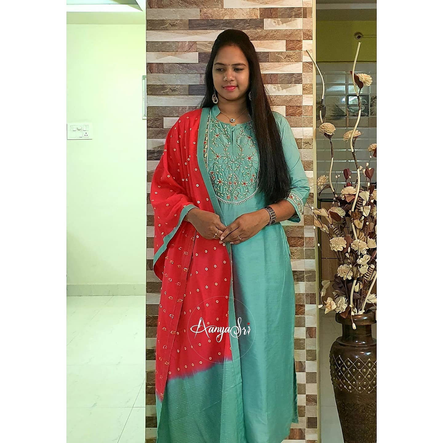 Lovely sea green color kurti with dual shade dupatta. Kurti with hand embroidery work on yoke.   2021-02-19