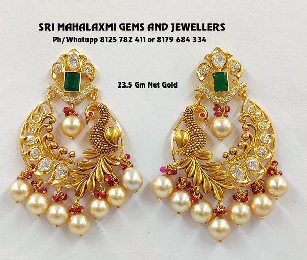 Chandbali ear rings new designs from Sri Mahalaxmi Gems and Jewellers. 2021-02-19