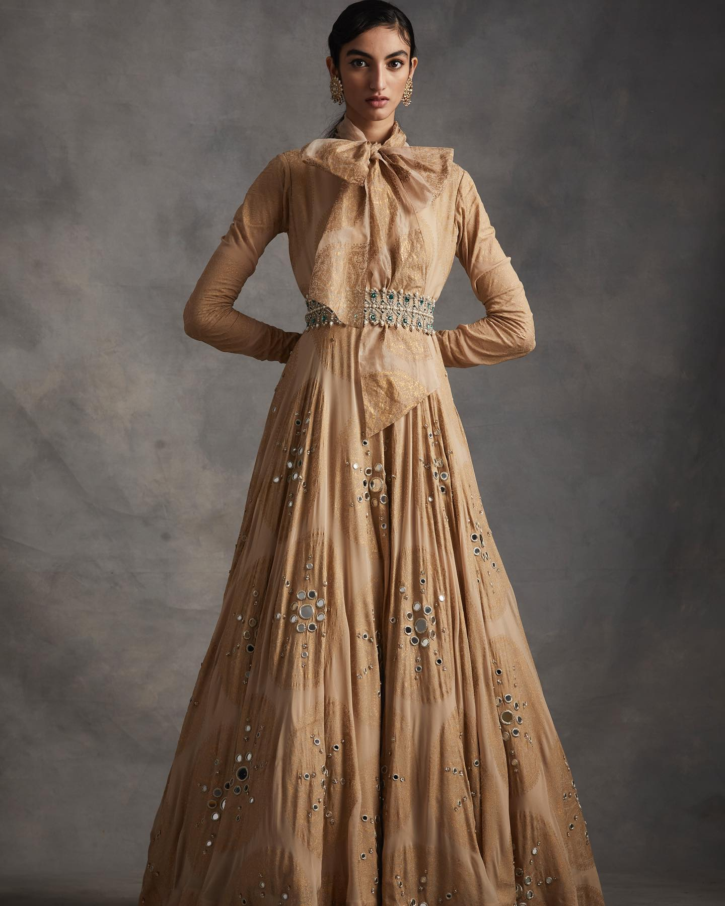 SUMMER ROMANCE . FESTIVE 2021 . PART 2  LOOK 2 - Beige ambi circle print belted anarkali gown with mirror and pearl embroidery. 2021-02-19
