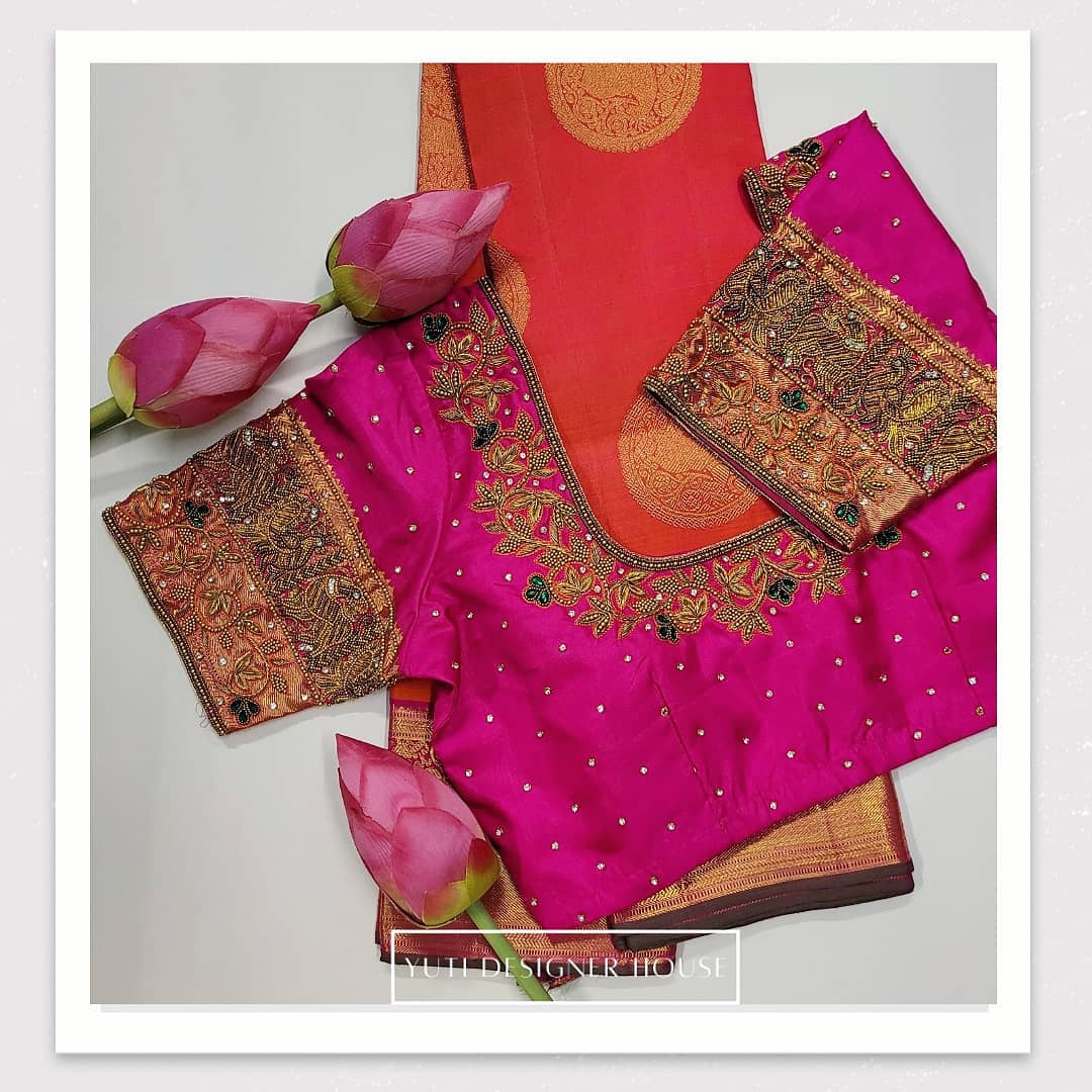 Stunning rani pink color designer blouse with floral  and creeper design hand embroidery bead aari work.  2021-02-19