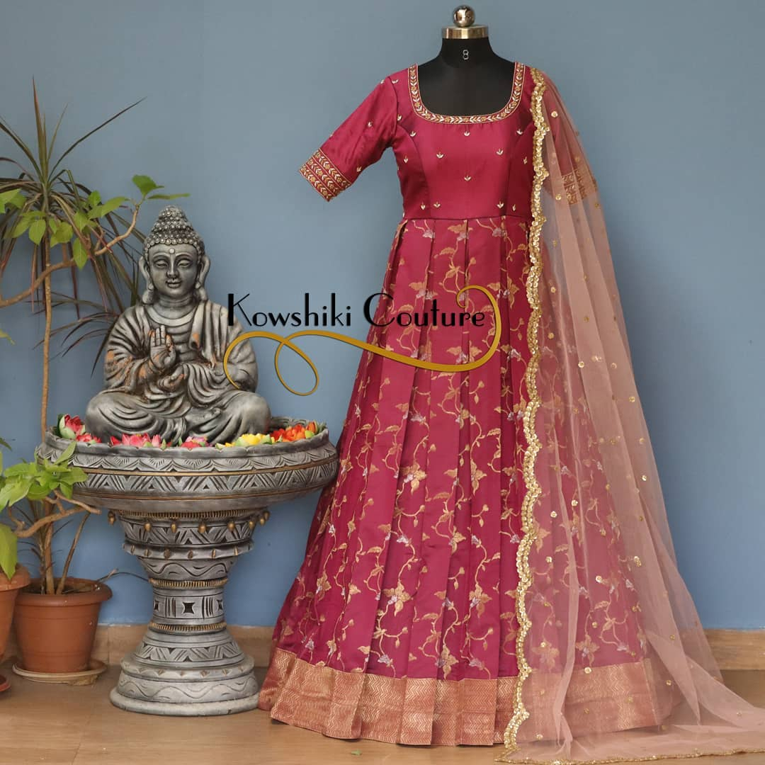 Stunning pattu long frock with net dupatta. Long frock with hand embroidery work on neckline.  2021-02-19