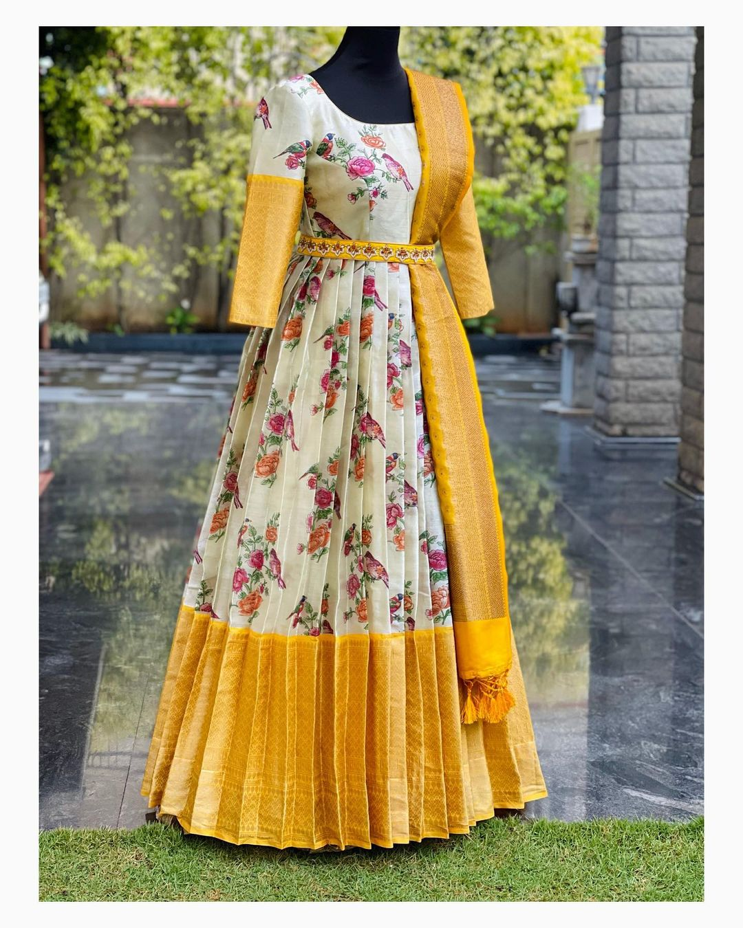 Simple yet trendy designs for small intimate ceremonies. Stunning off white and yellow color floral pattu long frock.  call/whatsapp  on 8951239449. 2021-02-20