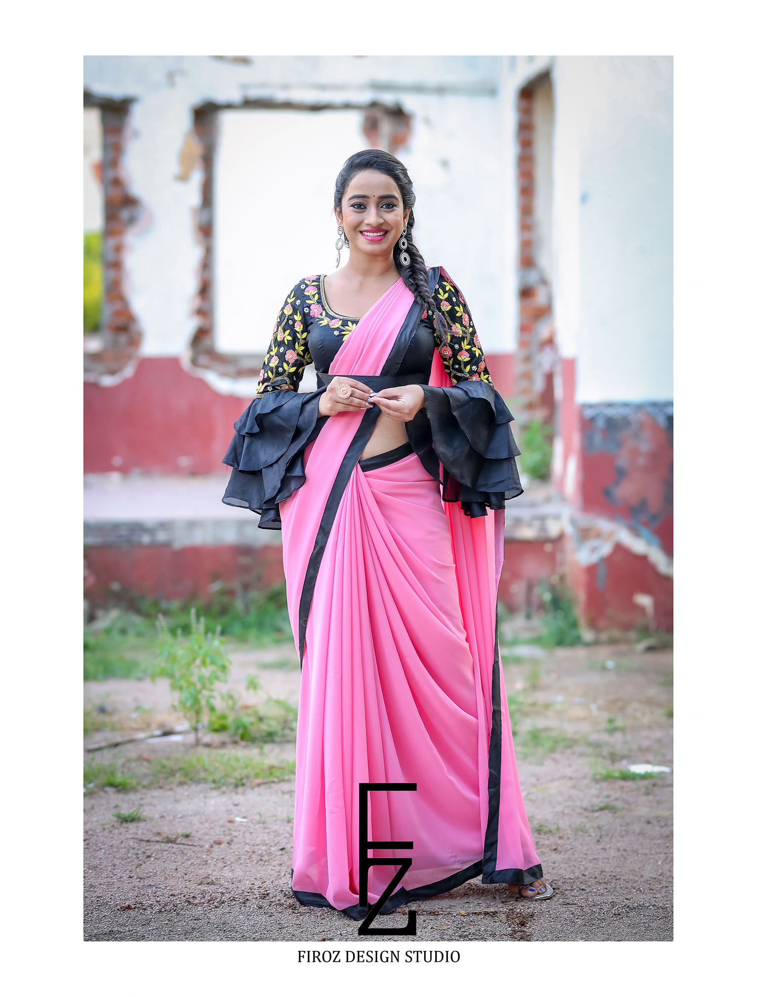 Beautiful and Charming Vindhya Vishaka in Firoz Design Studio Outfit. Stunning Vindya Vishaka in pink color saree and black blouse. Blouse with hand embroidery work and bell ruffle sleeves.  2021-02-21
