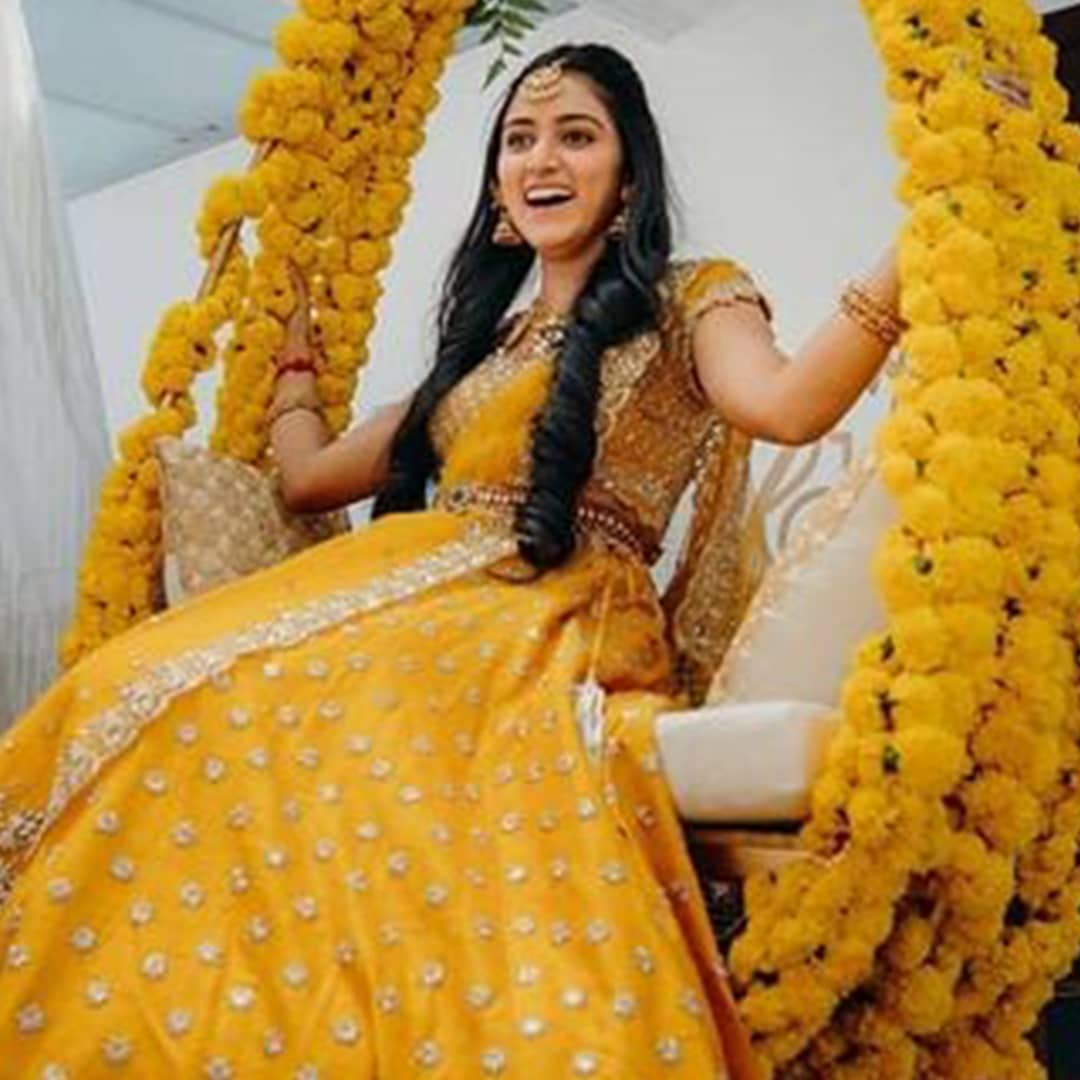 Beautiful Aish Shivkumar in Anushree Reddy yellow bridal lehenga set. 2021-02-21
