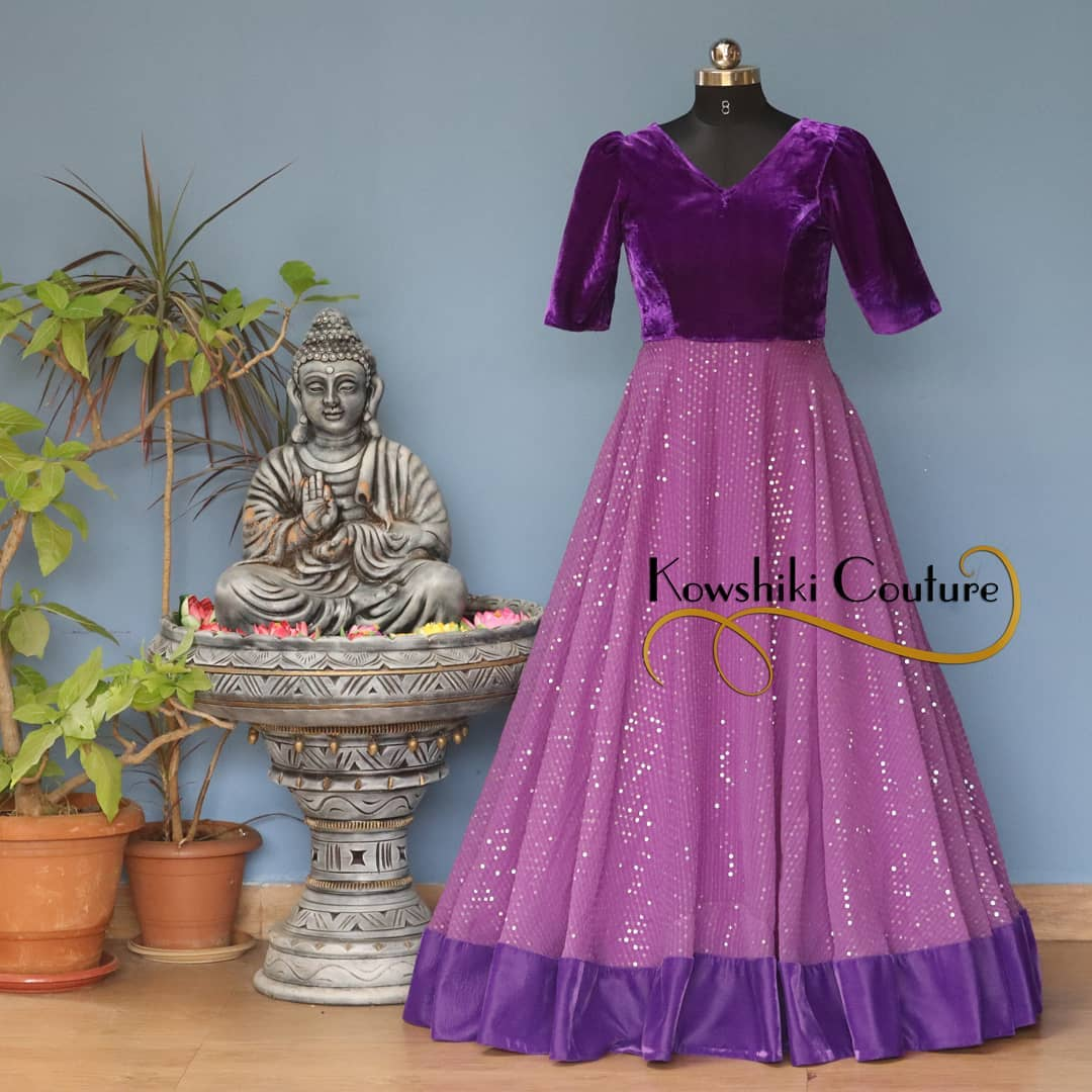 Party Wear Dress with Velvet Yoke and sequins Bottom. Whatsapp 9493727265 for order and queries.. 2021-02-21