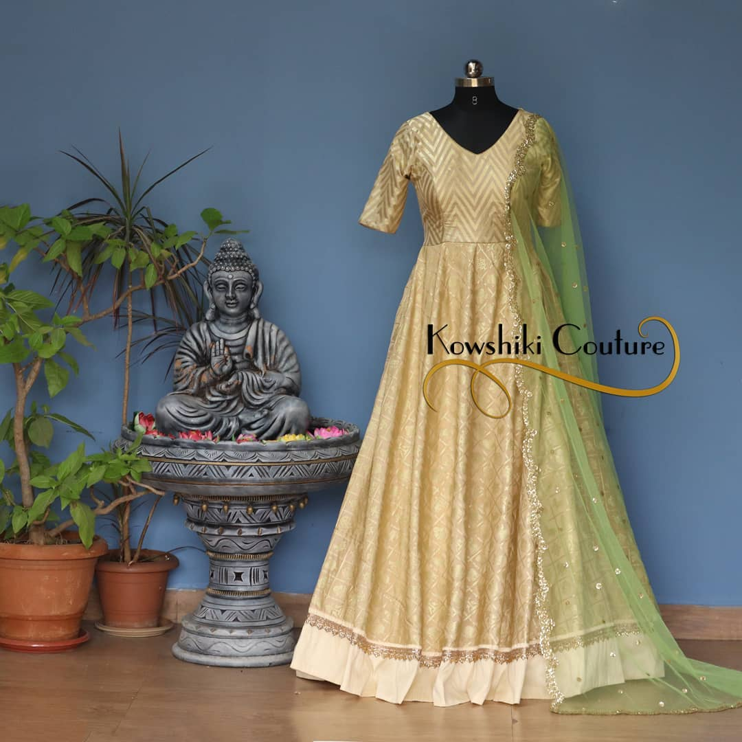 Beautiful Golden shade Party Wear Long Dress. Whatsapp 9493727265 for order and queries.. 2021-02-21