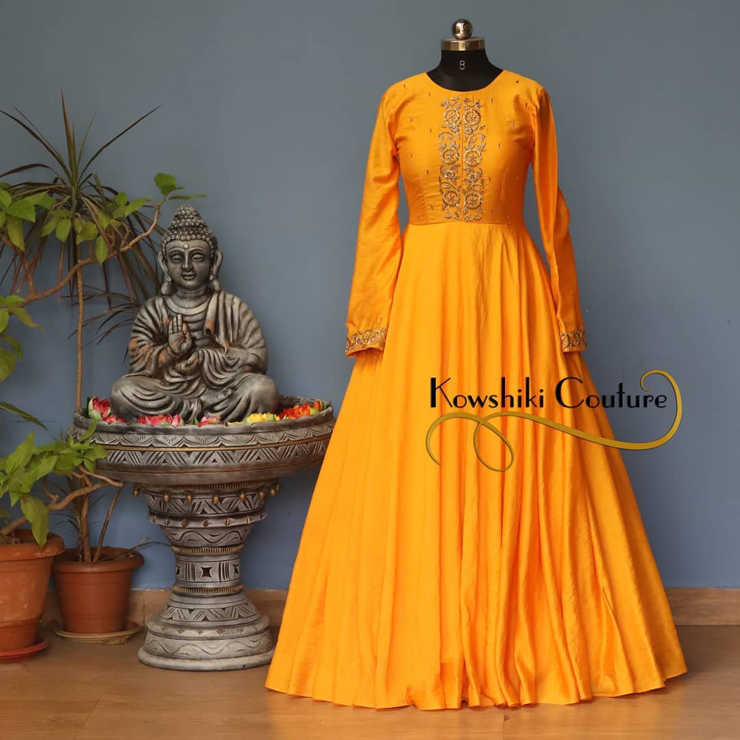 Beautiful Golden Yellow Long Dress with Full Sleeves. Whatsapp 9493727265 for order and queries.. 2021-02-21
