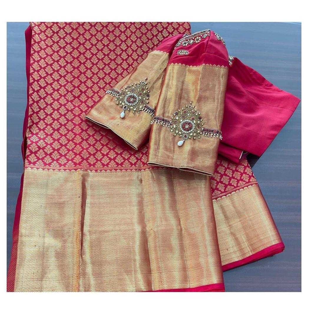 Beautiful work done on these Kanchipuram blouses! . Simple vanki design aari work on jari sleeves. 2021-02-21
