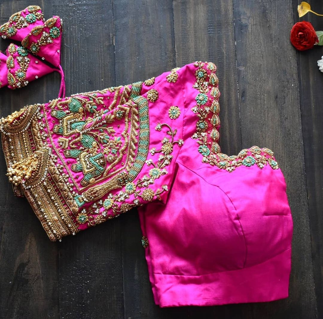 Hand-embroidered elephant zardosi embellished bridal blouse 2021. 2021-02-21